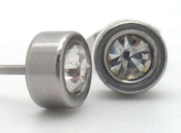 Joyas de acero quirurgico por mayor, Aros. Aro pegado con cristal blanco de 5 mm.-Joyas de Acero-Aros-EA0609CL