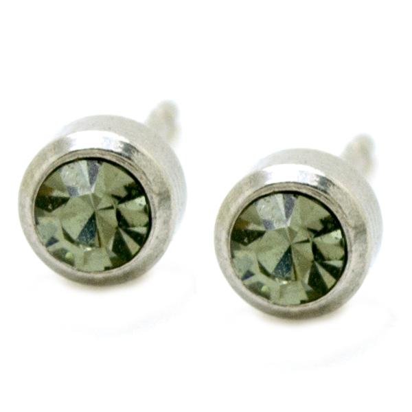 Joyas de acero quirúrgico por mayor, aros diseño discreto con un pequeño circón gris, tamaño 5 mm-Joyas de Acero-Aros-EA0609G
