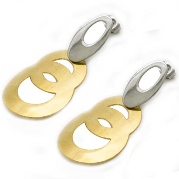 Joyas de acero quirurgico por mayor, Aros. En acero bicolor, e Aprox 60mm de alto. Joyas de acero, A-Súper Ofertas-OFERTAS SOLO POR INTERNET-EA0743