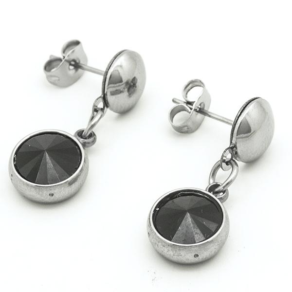 Joyas de acero quirurgico por mayor, Aros, aro acero con cristal negro, largo 2,5 cm-Joyas de Acero-Aros-EA0761N