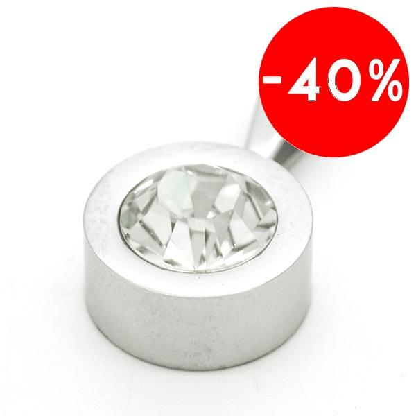 Joyas de acero quirurgico por mayor, colgante. Circón blanco transparente de 10mm con bordes de ace-Joyas de Acero-Colgantes-PA0109B