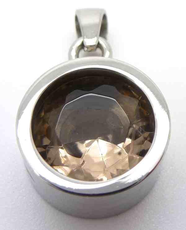 Joyas de acero quirurgico por mayor, colgante. Acero con Cristal Topacio 10mm-Joyas de Acero-Colgantes-PA0109C