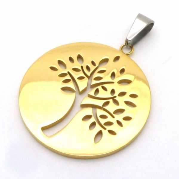 Joyas de acero quirurgico por mayor, colgante. Placa dorada con diseño árbol de la vida de 51 mm de-Súper Ofertas-OFERTAS SOLO POR INTERNET-PA0261