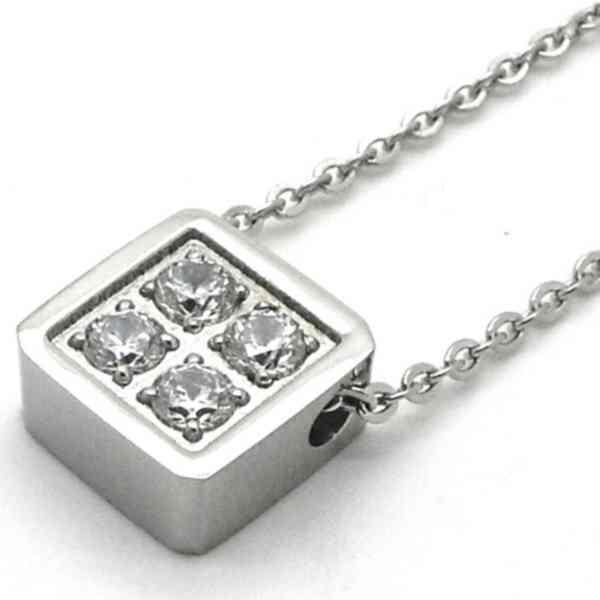 Joyas de acero quirurgico por mayor, colgante. Cadena plateada de 45 cm con un pendiente cuadrado c-Joyas de Acero-Collares-PA0262
