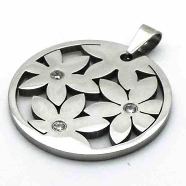 Joyas de acero quirurgico por mayor, colgante. Placa redonda con diseños de flores con circones en-Súper Ofertas-CYBERKHALA HASTA EL JUEVES-PA0263