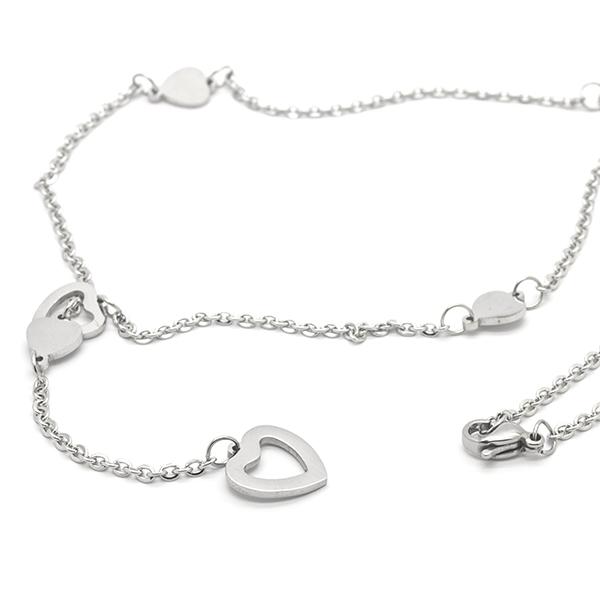 Joyas de acero quirúrgico por mayor, collar diseño juvenil y corazones , largo 45 cm-Joyas de Acero-Collares-NA0145