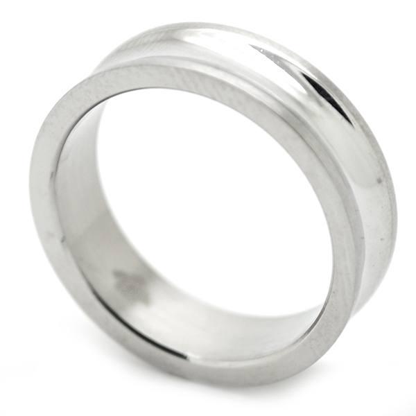Joyas de acero quirurgico por mayor, anillos. Con curva bajo relieve, 6 mm de ancho aprox. Anillos,-Joyas de Acero-Hombres-RA0723