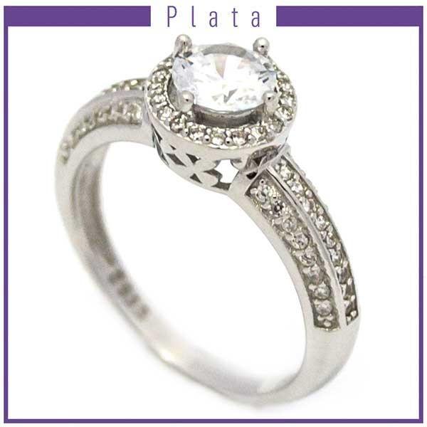 Anillos-Joyas de plata 925 por mayor Anillo de modelo clásico con circones-Joyas de Plata-Anillos-RP0009