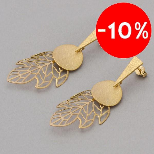 Joyas bañadas en oro por mayor, Aros. Enchape oro 18K, forma de hoja y una placa satinada de 40mm-Joyas Banadas-Aros-EE0048L