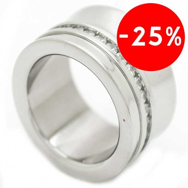 Joyas de acero quirurgico por mayor, anillos. anillo tubo con una linea de circones en uno de los b-Joyas de Acero-Anillos-RA0208L
