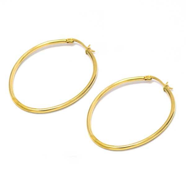 Joyas de acero quirúrgico por mayor, Aros de argolla ovalada dorada tubo de 45 cm -Joyas de Acero-Aros-EA0012D