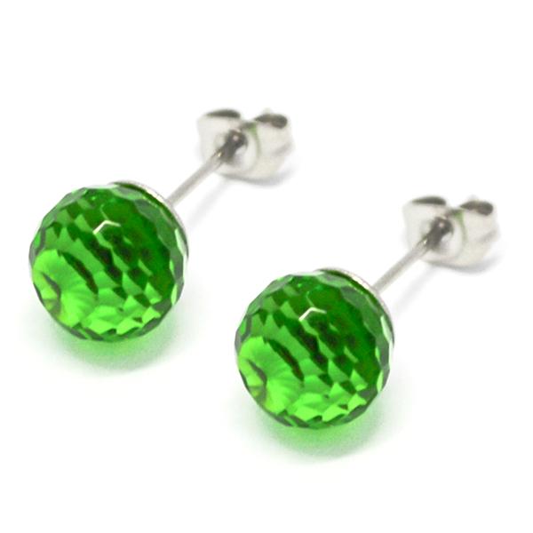 Aros-Joyas de ACERO por mayor, aro de acero esfera color verde -Joyas de Acero-Aros-EA0762V