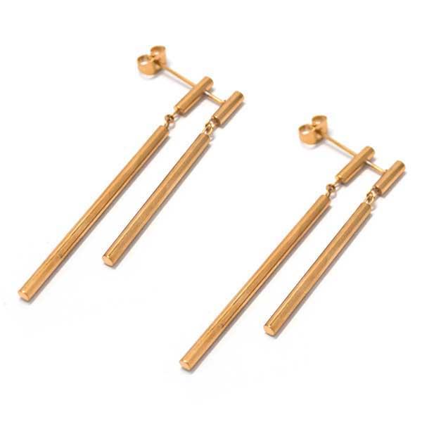 Aros-Joyas de ACERO por mayor, aro de acero color cobre, doble palito el primero mide 6 cm y el segundo 4,5 cm  -Joyas de Acero-Aros-EA0962C