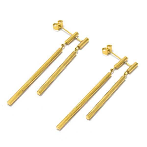 Aros-Joyas de ACERO por mayor, aro de acero color dorado, doble palito el primero mide 6 cm y el segundo 4,5 cm  -Joyas de Acero-Aros-EA0962D