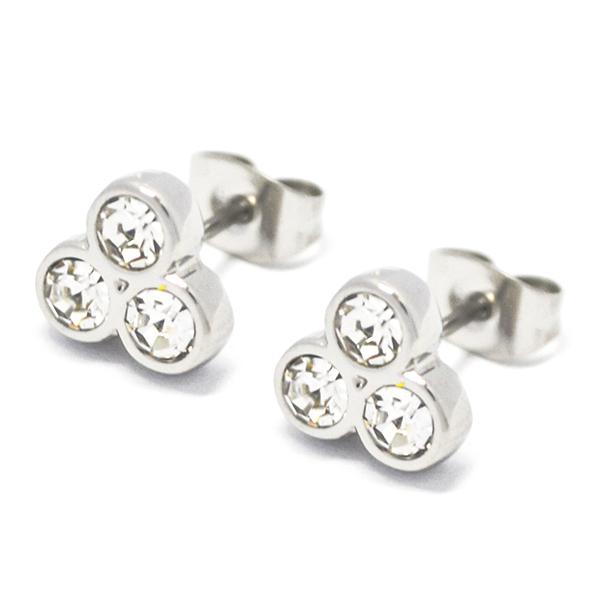 Aros-Joyas de ACERO por mayor , aro de acero en de 1 cm aprox forma de trébol con circones -Joyas de Acero-Aros-EA0989