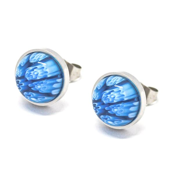 Aros-Joyas de ACERO por mayor, aro de acero con resina color celeste de 1 cm aprox  -Joyas de Acero-Aros-EA0991B