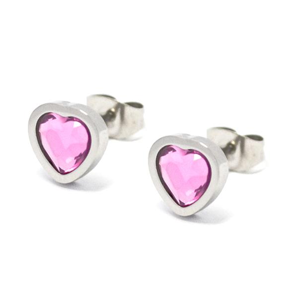 Aros-Joyas de ACERO por mayor, aro de acero con forma de corazón con cristal rosado de 1 cm  aprox -Joyas de Acero-Aros-EA0992