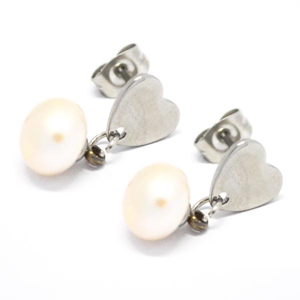 Aros-Joyas de ACERO por mayor, aro de acero con pasador en forma de corazón mas una delicada perla de rió color blanca este aro mide 1,5 cm  aprox  -Joyas de Acero-Aros-EA0994
