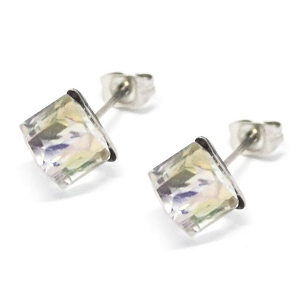 Aros-Joyas de ACERO por mayor. delicado aro de acero en forma de cubo color tornasol su tamaño es de 0,6 cm aprox -Joyas de Acero-Aros-EA0995AB