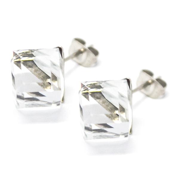 Aros-Joyas de ACERO por mayor. delicado aro de acero en forma de cubo color blanco su tamaño es de 1 cm  aprox -Joyas de Acero-Aros-EA0995C
