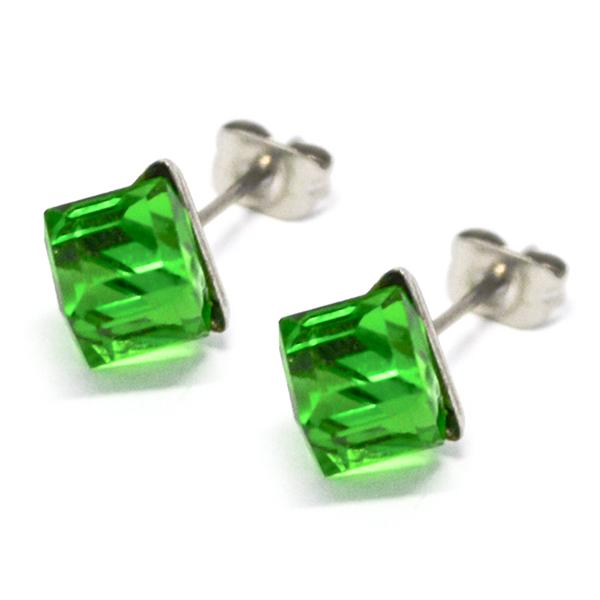 Aros-Joyas de ACERO por mayor. delicado aro de acero en forma de cubo color verde su tamaño es de 0,-Joyas de Acero-Aros-EA0995V