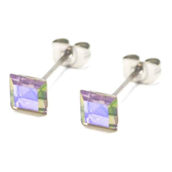 Aros-Joyas de ACERO por mayor. delicado aro de acero cuadrado color tornasol su tamaño es de 0,5 cm-Joyas de Acero-Aros-EA0996AB