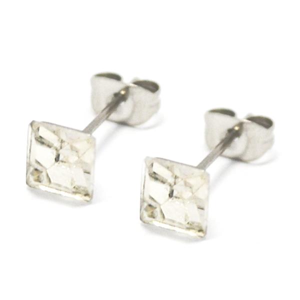 Aros-Joyas de ACERO por mayor. delicado aro de acero cuadrado color blanco su tamaño es de 0,5 cm ap-Joyas de Acero-Aros-EA0996C