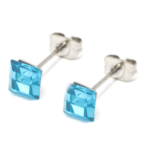 Aros-Joyas de ACERO por mayor. delicado aro de acero cuadrado color calipso, su tamaño es de 0,5 cm-Joyas de Acero-Aros-EA0996K