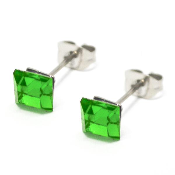 Aros-Joyas de ACERO por mayor. delicado aro de acero cuadrado color verde, su tamaño es de 0,5 cm ap-Joyas de Acero-Aros-EA0996V