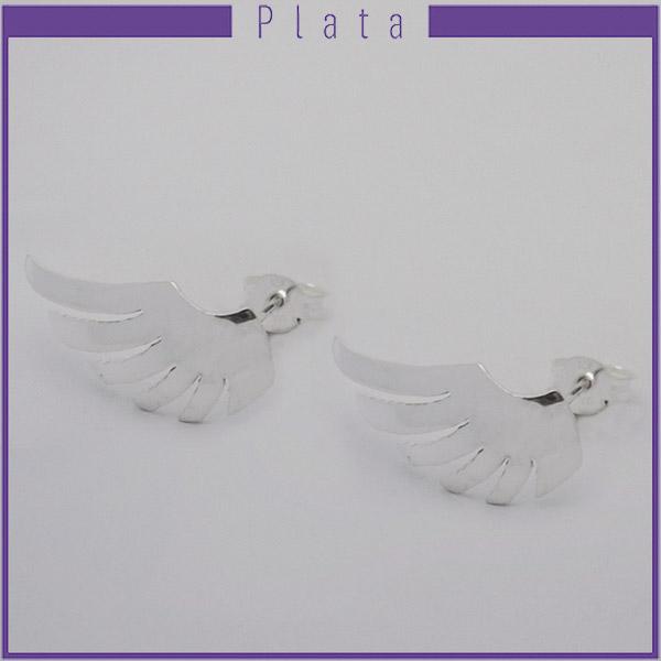 Joyas de Plata 925 por mayor, original aro de plata en forma de ala este mide 2,5 cm -Joyas de Plata-Aros-EP0080