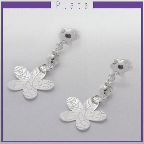 Joyas de Plata 925 por mayor , delicado aro de plata en forma de flor con 5 pétalos con texturas este aro mide 4,5 cm de largo -Joyas de Plata-Aros-EP0082