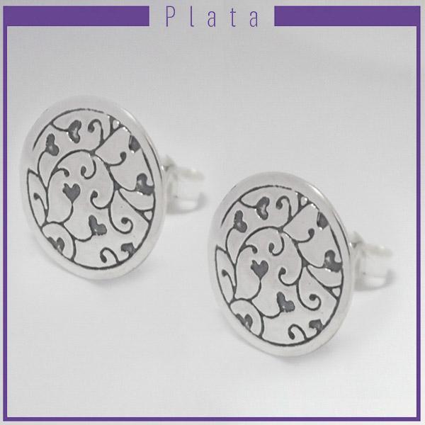 Joyas de Plata 925 por mayor, aro de plata circular 1,5 cm. Con repujado de corazones-Joyas de Plata-Aros-EP0088