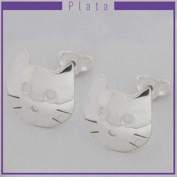 Joyas de Plata 925 por mayor, aro de plata, cara de gato. 1,8 cms aprox-Joyas de Plata-Aros-EP0092