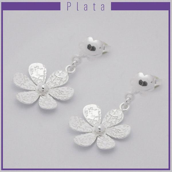 Joyas de Plata 925 por mayor, aro de plata. Flor machacada de 6 pétalos de 2 cm, y alto de 3,5 cm-Joyas de Plata-Aros-EP0094