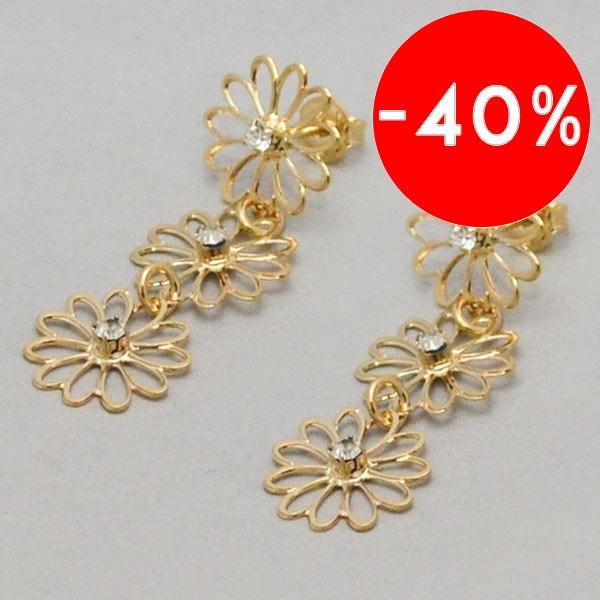 Joyas bañadas en oro por mayor, Aros. Tres flores unidas enchape oro 18K, brillante-Súper Ofertas-SOLO POR INTERNET-EE0055
