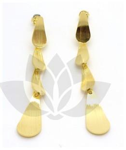 Joyas bañadas en oro por mayor, Aros. Joyas bañadas en oro amarillo italiano, en forma de cuatro got-Súper Ofertas-OFERTA JOYAS DE ACERO-EE0185