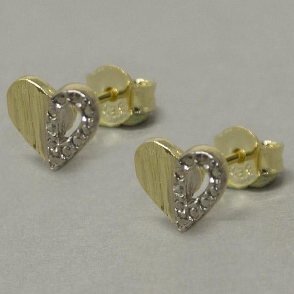 Joyas bañadas en oro por mayor, corazón bicolor, tamaño 1 cm-Joyas Banadas-Aros-EE0595