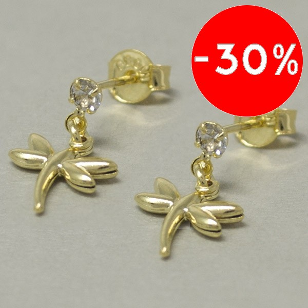Joyas bañadas en oro por mayor, libélula bañada en oro, tamaño 1,5 cm-Joyas Banadas-Aros-EE0598