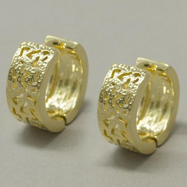 Joyas bañadas en oro por mayor, diseño clásico con filigrana, diámetro 1,8 cm-Joyas Banadas-Aros-EE0599