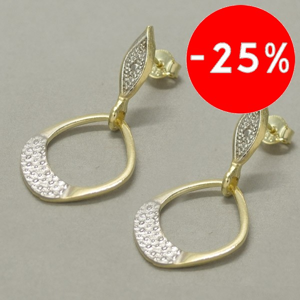 Joyas bañadas en oro por mayor, moderno diseño bicolor 3,5 cm-Joyas Banadas-Aros-EE0603