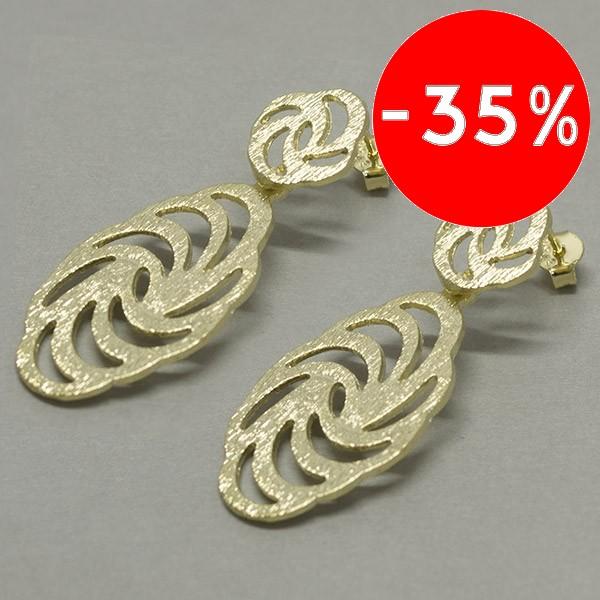 Joyas bañadas en oro por mayor, moderno diseño satinado ,largo 4,5 cm-Joyas Banadas-Aros-EE0604