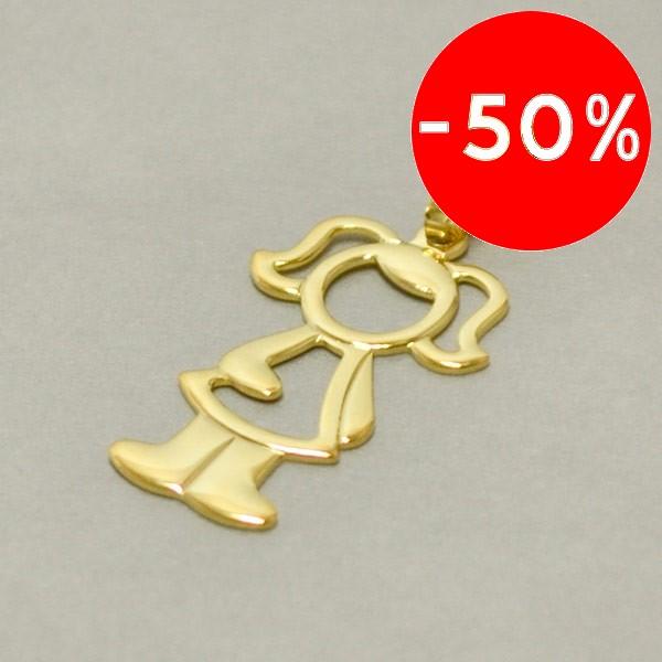 Joyas bañadas en oro por mayor, colgante. largo 4,5cm, original diseño de niña-Joyas Banadas-Colgantes-PE0060M