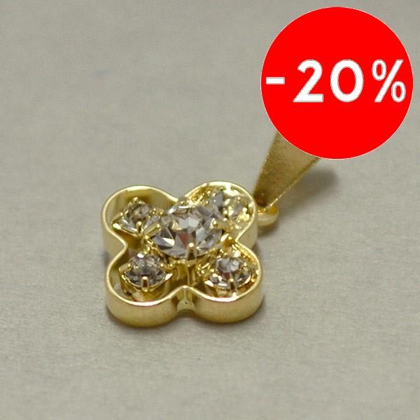 Joyas bañadas en oro por mayor, delicado diseño con circones en el centro, tamaño 2 cm-Joyas Banadas-Colgantes-PE0068
