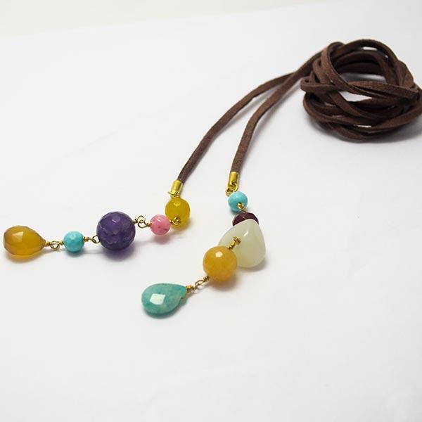 Collares-  Joyas Bañadas en oro Hechas a mano, caída de 62cms, con cordón de cuero natural, terminad-Joyas Banadas-Collares-NE0152