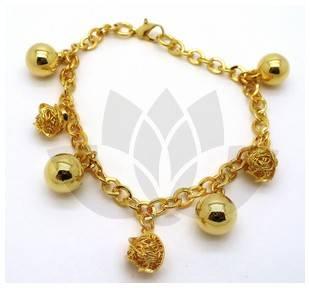 Joyas bañadas en oro por mayor,Pulsera, Pulsera enchape forma de cadena gruesa y pelotitas intercala-Súper Ofertas-SOLO POR INTERNET-BE0022