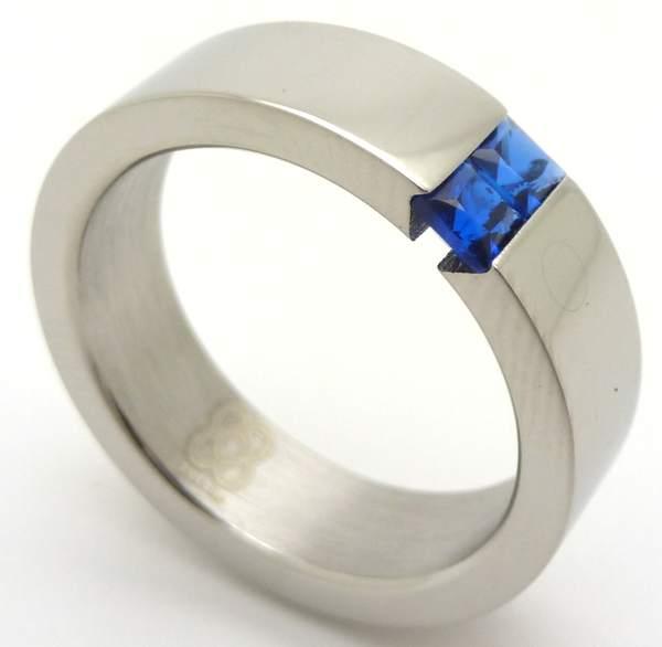 Joyas de acero quirurgico por mayor, anillos. anillo brillantes con 2 circones azules-Súper Ofertas-BOLSAS DE OFERTAS-RA0005A