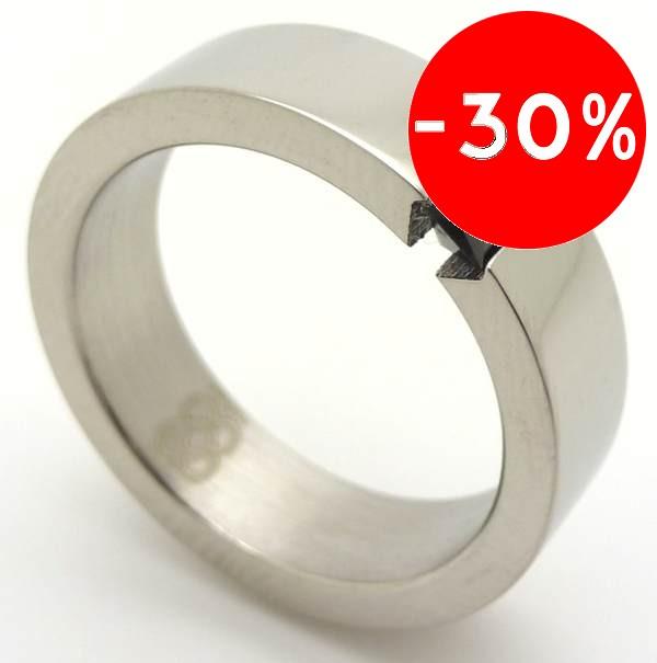 Joyas de acero quirurgico por mayor, anillos. anillo brillantes con 2 circones verticales negros-Súper Ofertas-SOLO POR INTERNET-RA0005N