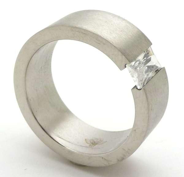 Joyas de acero quirurgico por mayor, anillos. anillo satinado con un bagette vertical-Joyas de Acero-Anillos-RA0006