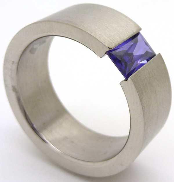 Joyas de acero quirurgico por mayor, anillos. Anillo satinado con cristal morado-Joyas de Acero-Anillos-RA0006M