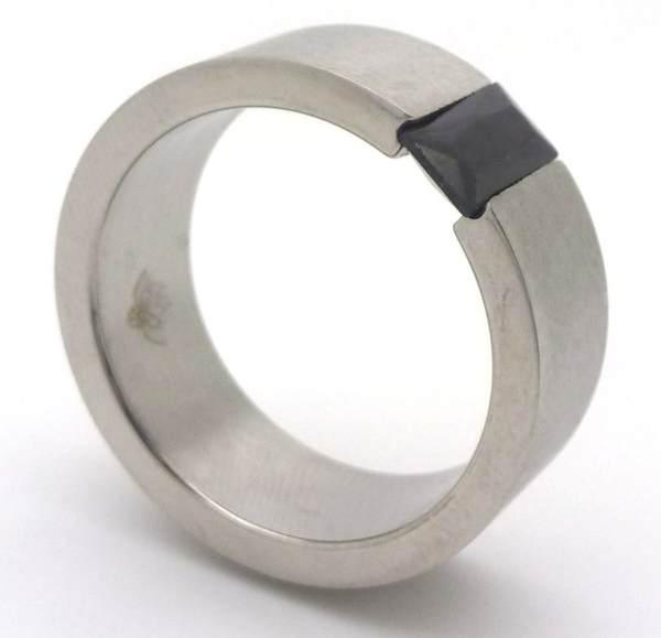Joyas de acero quirurgico por mayor, anillos. Anillo de acero con franja satinada simple y cristal-Joyas de Acero-Anillos-RA0006MN